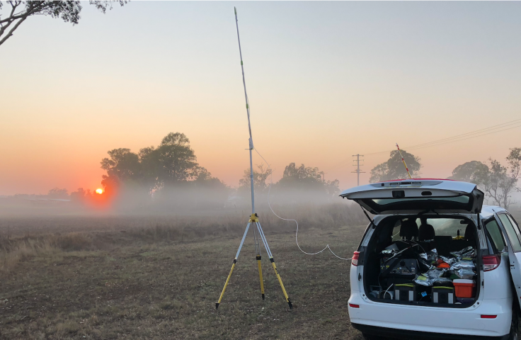 Field and monitoring equipment setup at sunrise